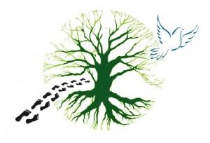 trek salam montagne logo nature pas arbre oiseau colombe marcher en paix